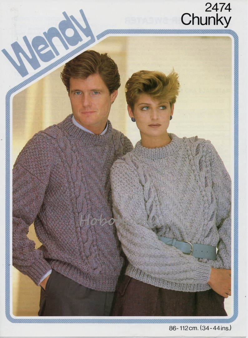 0203d8c844d8 Womens mens chunky cable sweater knitting pattern pdf ladies
