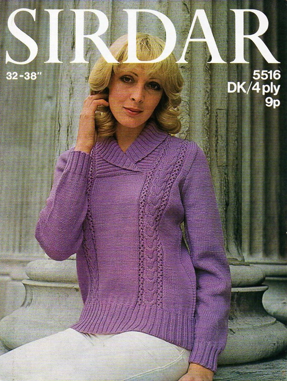 Ladies Shawl Collar Sweater Knitting Pattern Pdf Womens Cable Etsy