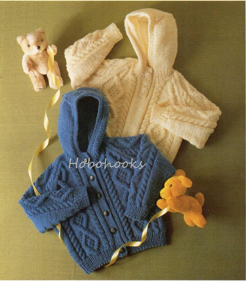 a489b1a90 Baby Knitting Pattern Childrens Knitting Pattern Aran Hooded