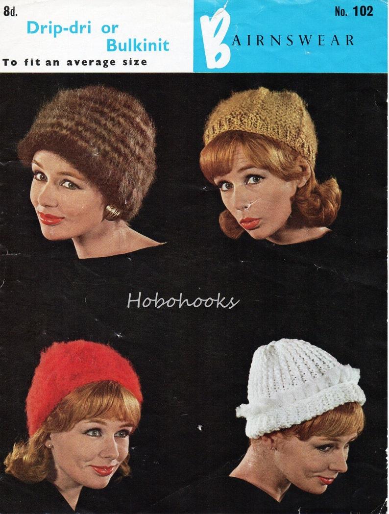 a8a3c591e21 Vintage womens hats knitting pattern PDF ladies chunky hat