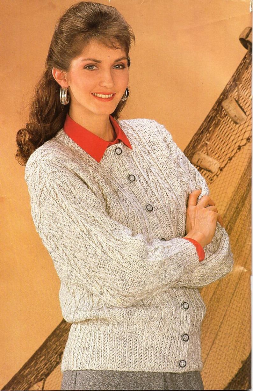 Womens aran cardigan knitting pattern pdf ladies cable ...