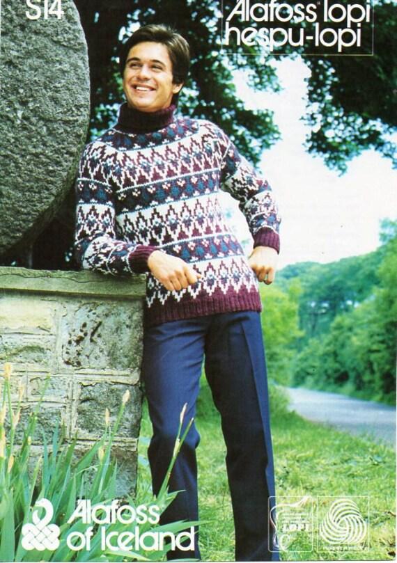 9f1ce4bdfe1be vintage mens chunky Fair isle sweater knitting pattern pdf