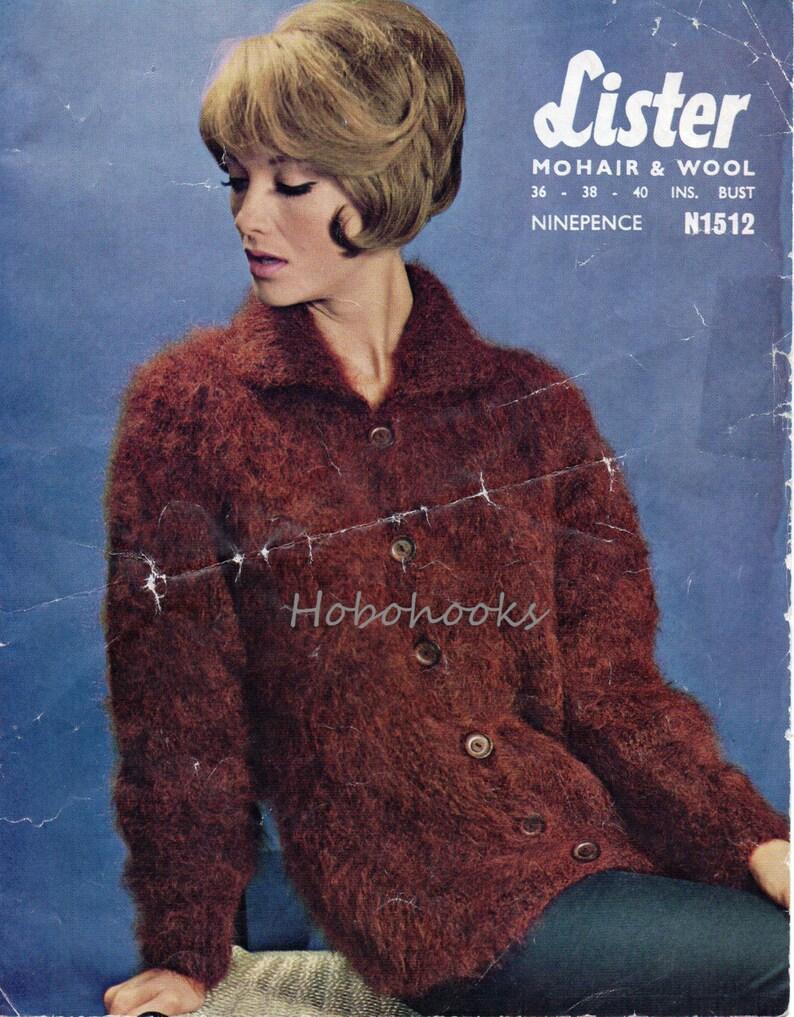 aead50b29 Vintage womens mohair cardigan knitting pattern pdf ladies