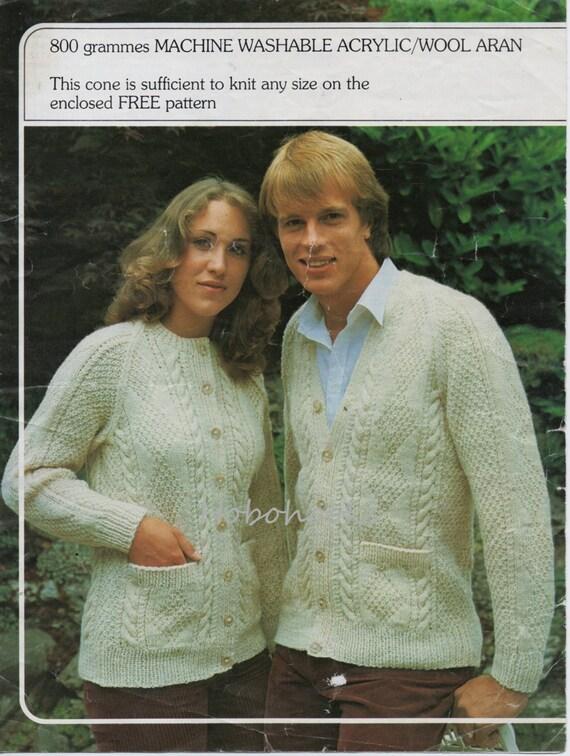 Vintage Womens Mens Aran Cardigan Knitting Pattern Pdf Ladies Etsy