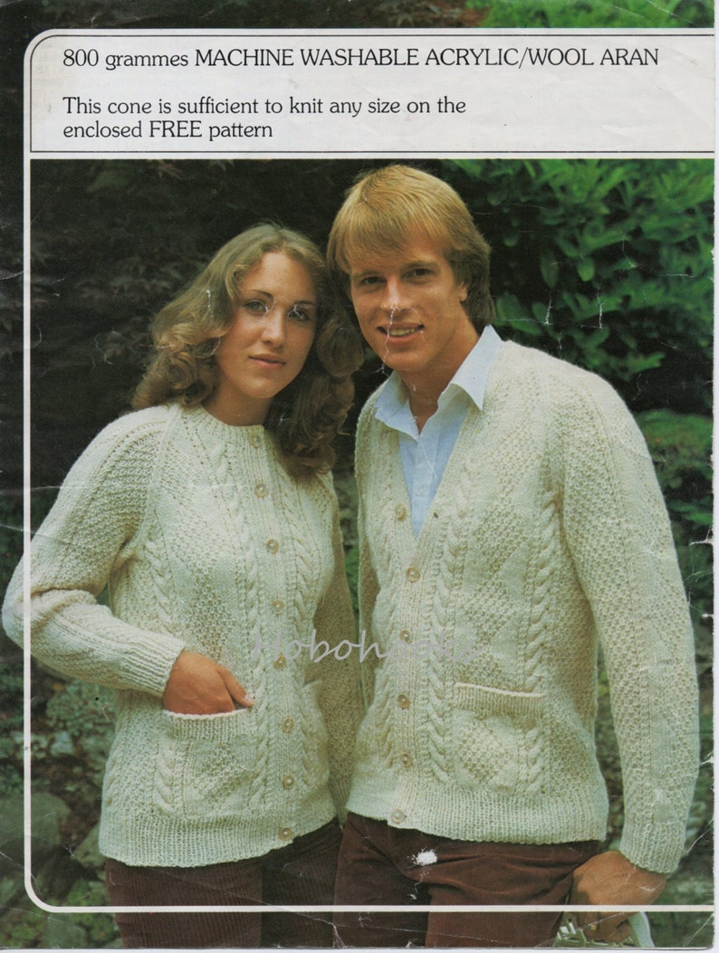 be5cbecc2 Vintage womens mens aran cardigan knitting pattern pdf ladies