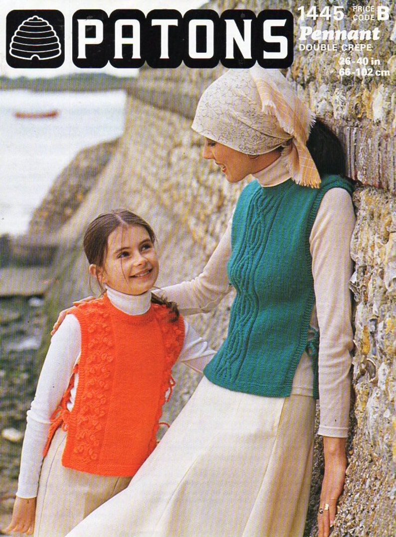 cf489be8e85a Vintage womens tabard knitting Pattern pdf ladies overtop
