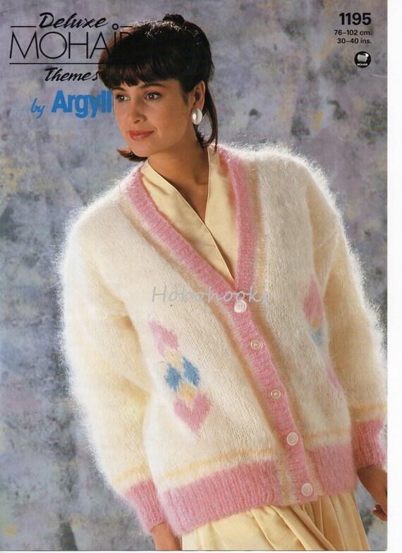 Womens Mohair Cardigan Knitting Pattern Pdf Ladies Diamond Etsy