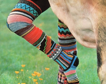 Womens CROCHET PATTERN womens crochet socks pattern multi coloured long socks retro socks ladies socks  4 Ply socks pdf instant download
