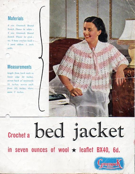 Vintage Womens 4ply Crochet Bed Jacket Crochet Pattern Pdf Etsy