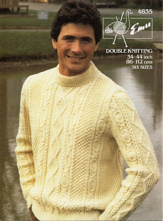 Sizes 34-44 Sweater Knitting Pattern uses Worsted Weight Yarn for Men