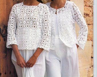 Womens CROCHET PATTERN Ladies Crochet Jacket Gilet Sweater Top Crochet Motif Crochet Sweater 32-36inch 4Ply Cotton Yarn PDF Instant Download