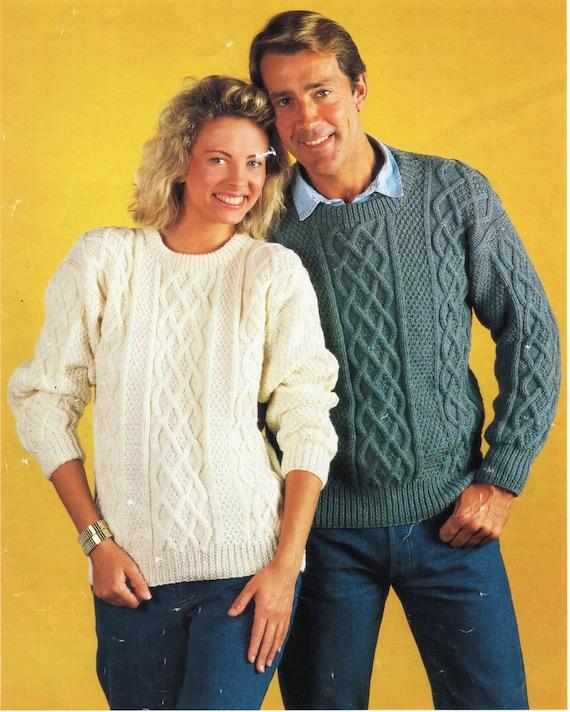 Womens Mens Aran Sweater Knitting Pattern Pdf Ladies Aran Etsy