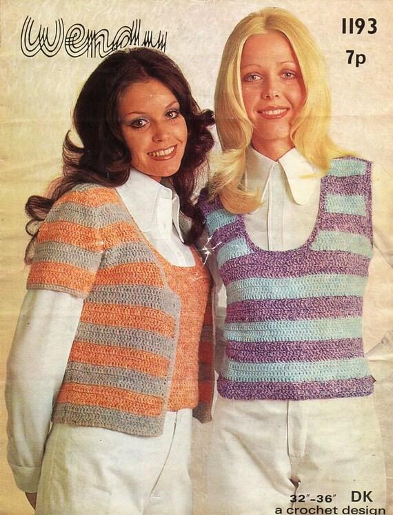 70536df99 vintage womens crochet top   jacket pattern CROCHET PATTERN