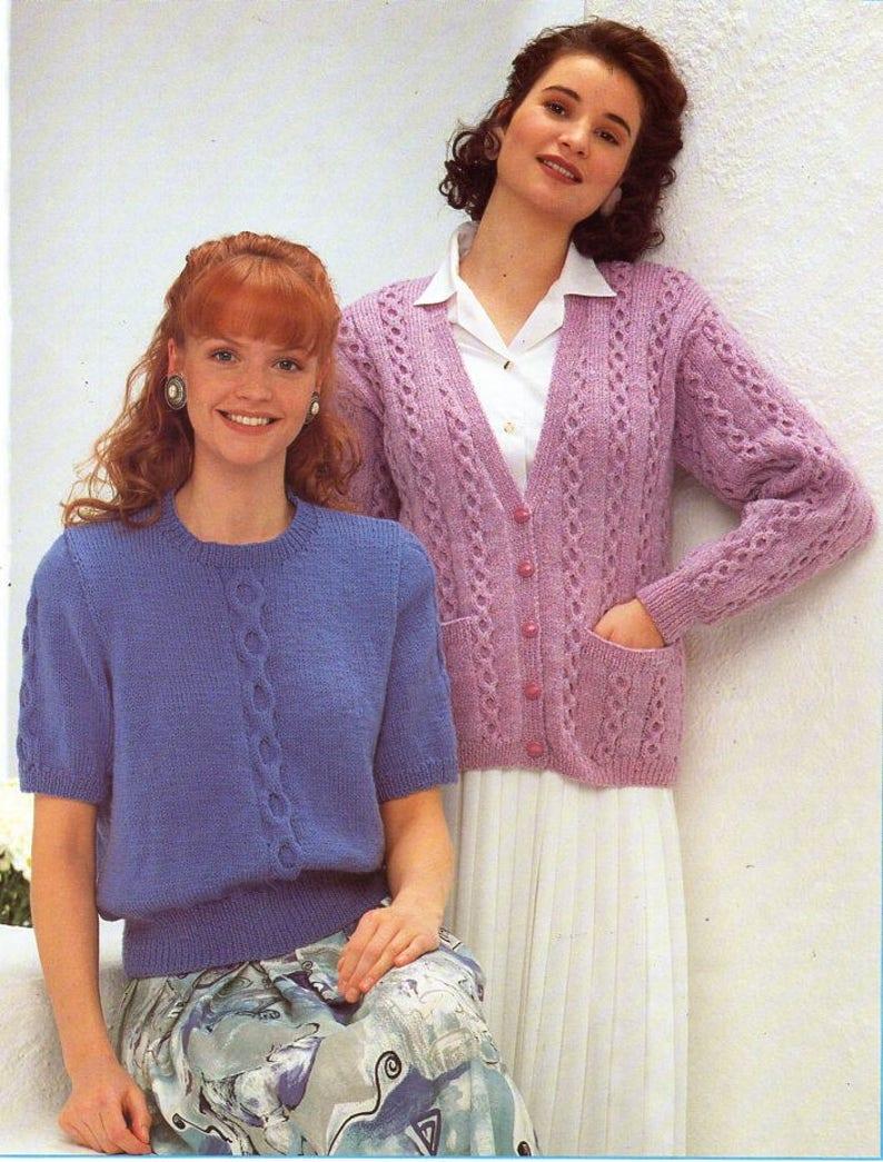 c7895510dc75 Ladies cable short sleeve sweater cardigan knitting pattern