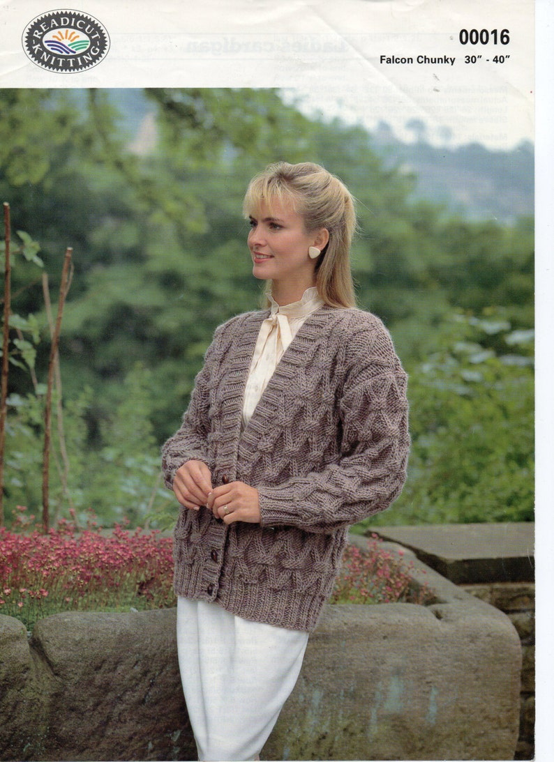 472d9c808d02 Womens cable cardigan knitting pattern pdf ladies chunky