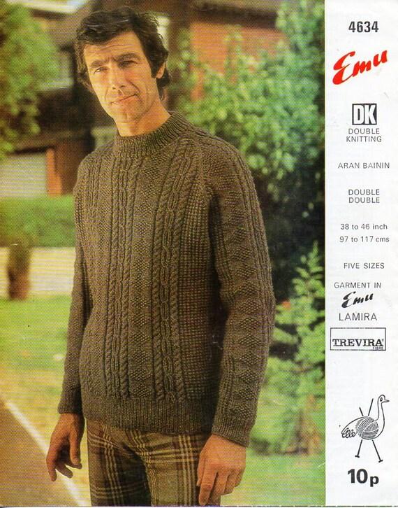 Mens Aran Sweater Knitting Pattern Pdf Download Mens Cable Etsy