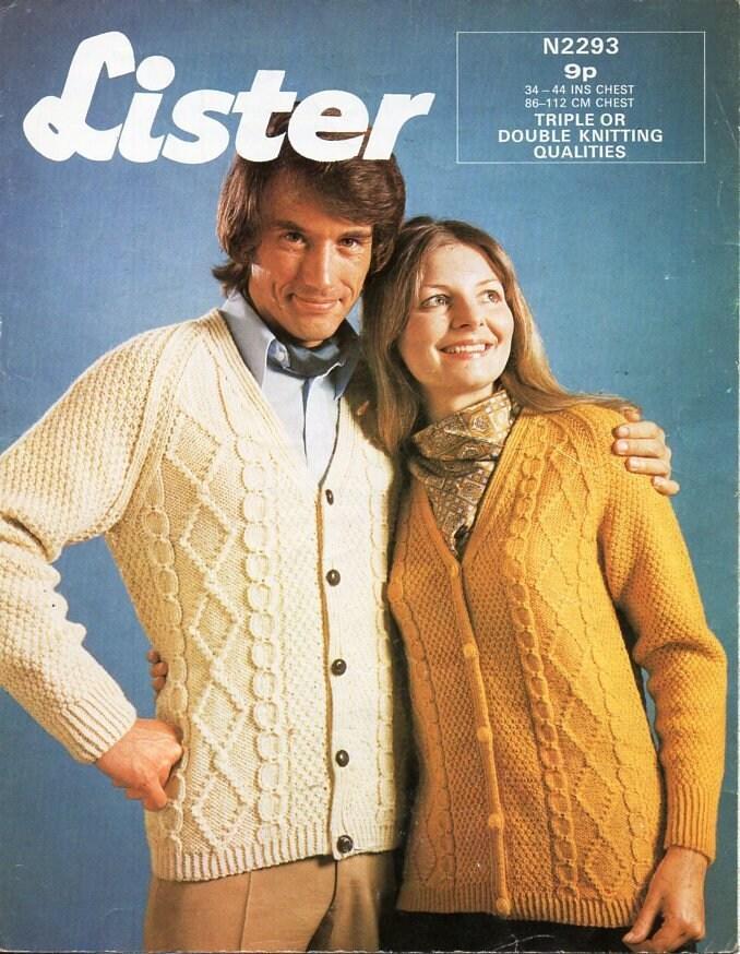 6614d0c3a vintage aran cardigan knitting pattern pdf womens mens cable jacket 34-44