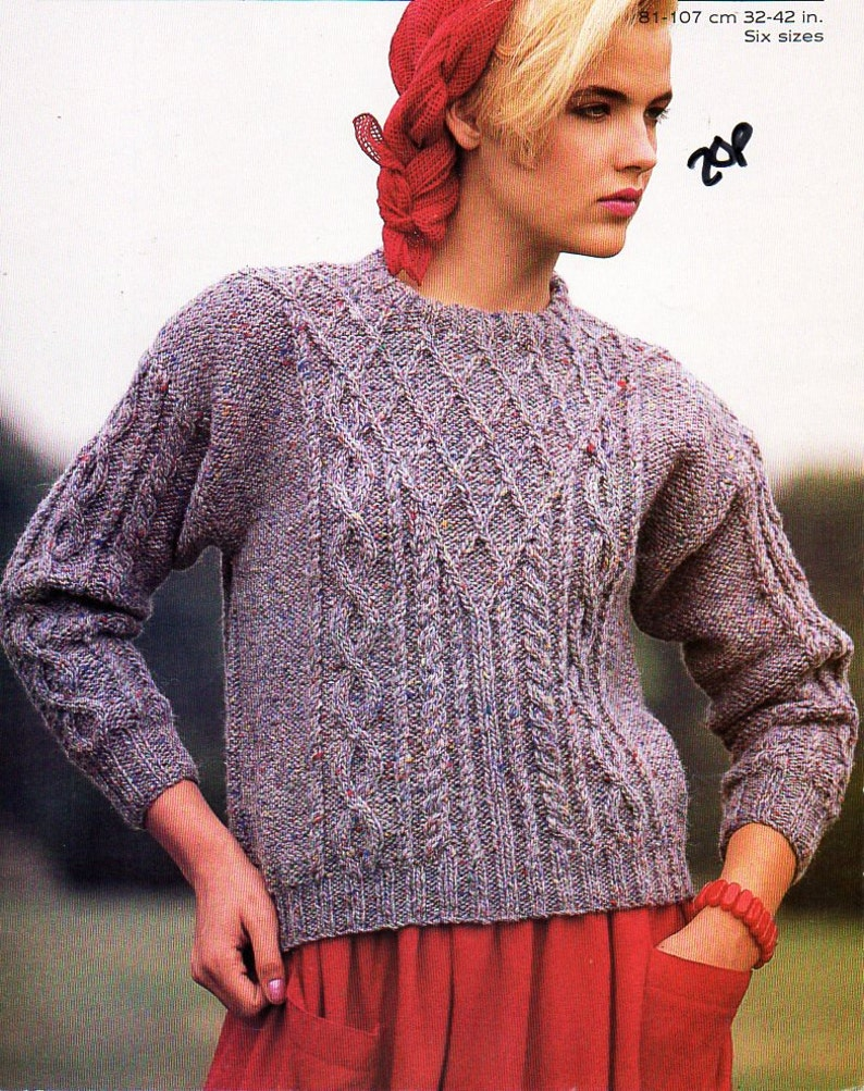 04998d1f5210 Womens aran sweater knitting pattern PDF chunky ladies cable