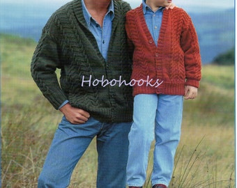"""mens cable cardigan knitting pattern pdf shawl collar jacket v neck 26-44"""" DK light worsted 8ply pdf instant download"""