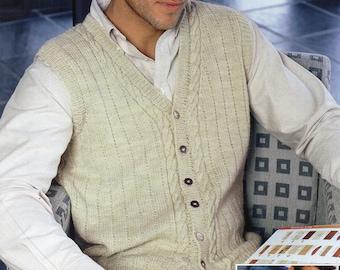Mens Knitting Pattern Mens v Neck Cardigan Mens Waistcoat Mens Cardigan 38-48 inch DK Mens Knitting Patterns PDF Instant Download