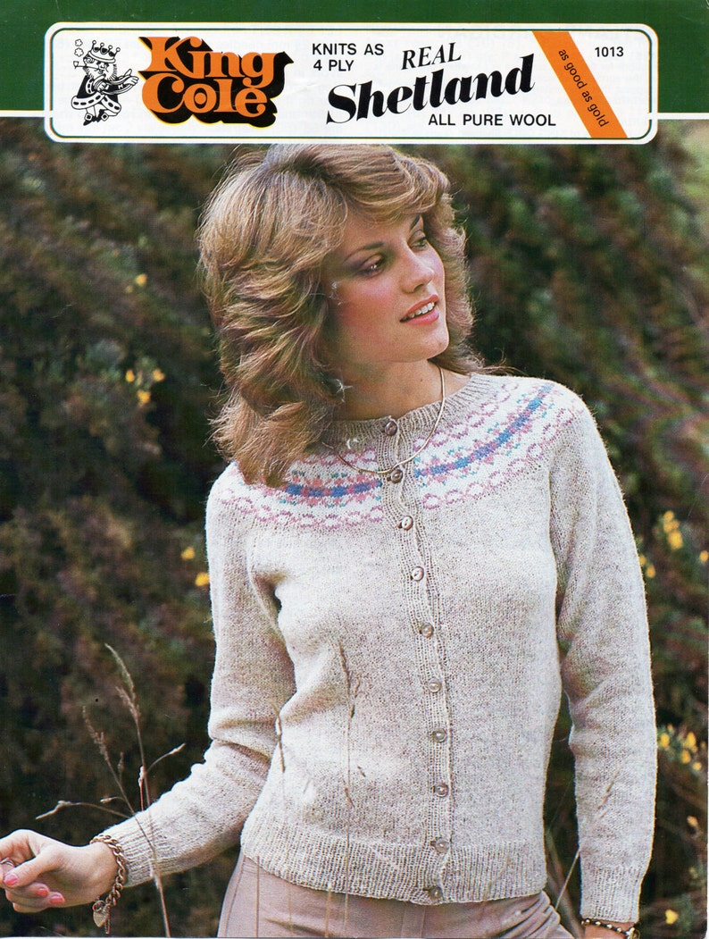 f36458f89c009 Womens fairisle cardigan fair isle yoke round neck 4 ply
