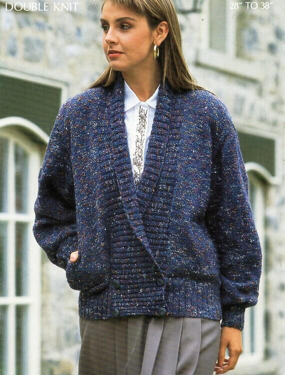 Ladies Jacket Knitting Pattern Pdf Dk Womens Shawl Collar Etsy