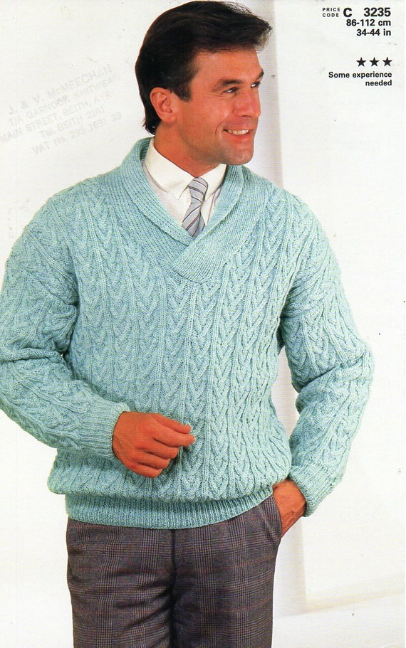 Mens Cable Sweater Knitting Pattern Pdf Dk Cable Shawl Collar Etsy