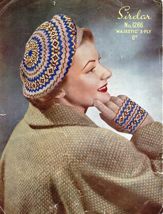 Womens Fair Isle Beret Knitting Pattern Pdf Womens Fair Isle Etsy