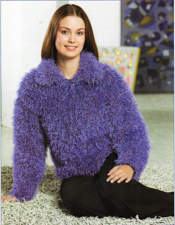 Ladies Furry Collar Cardigan Knitting Pattern Pdf Super Chunky Etsy