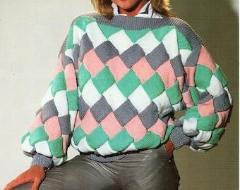 "womens entrelacs sweater knitting pattern pdf ladies entrelac jumper slash neck 32-42"" DK light worsted 8ply pdf Instant download"