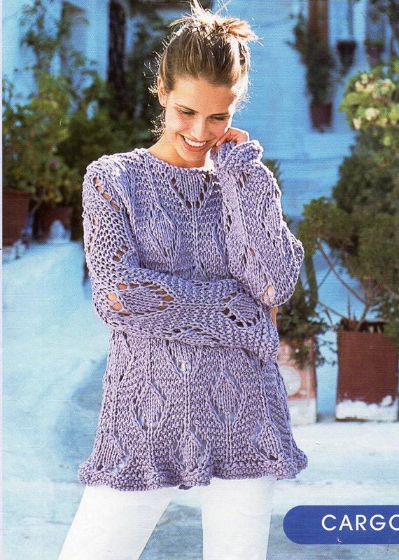 Womens Sweater Knitting Pattern Pdf Download Ladies Tunic Lacy Etsy
