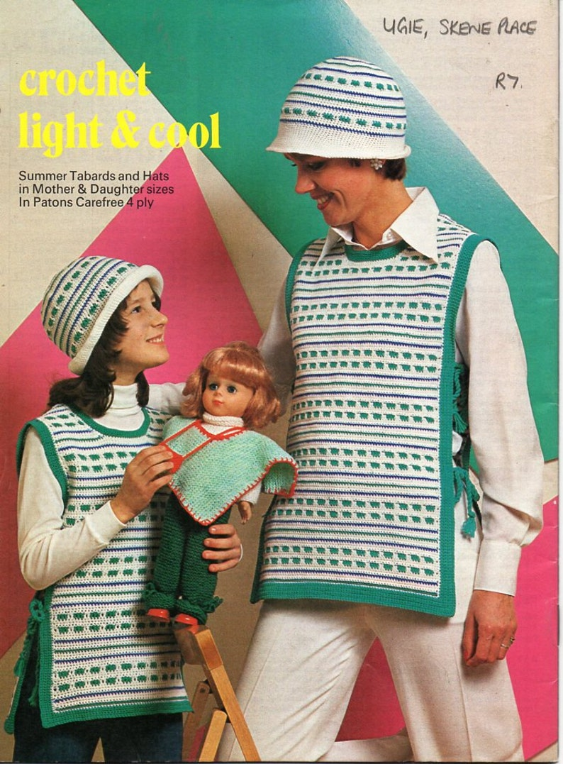 88ee0bb1096 SALE vintage womens crochet tabard hat crochet pattern pdf