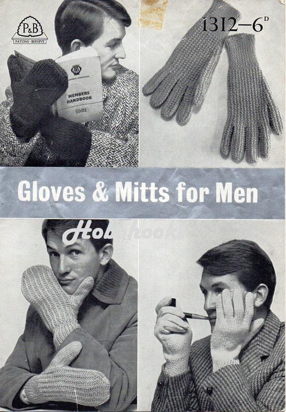 Vintage Mens Gloves knitting Patterns PDF 1950s Mens Mitts