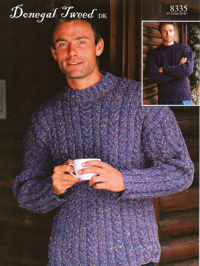 b782771402b8 Mens cable sweater knitting pattern pdf DK mans crew neck