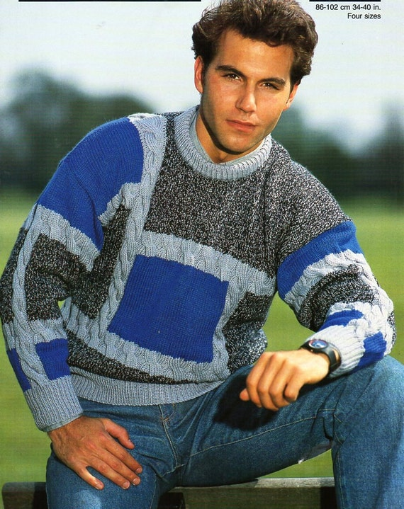 Mens Sweater Knitting Pattern Pdf Dk Patchwork Cable Jumper Etsy