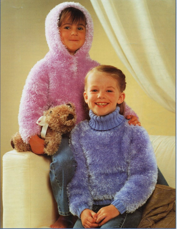 Girls Furry Sweaters Knitting Pattern Pdf Hooded Sweater Polo