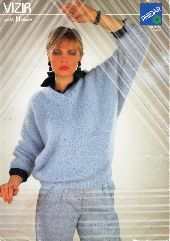Ladies Mohair Sweater Knitting Pattern Pdf Womens Dolman Etsy