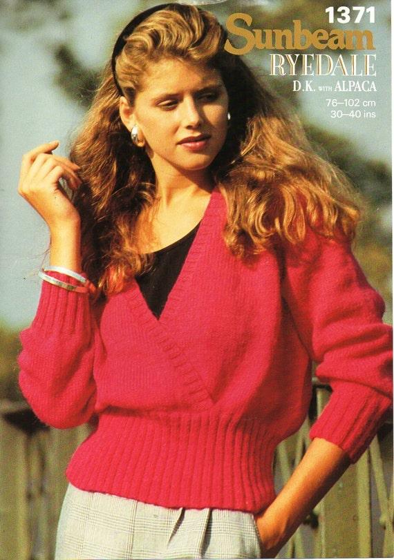 65db93f0e6baaa womens sweater knitting pattern pdf download DK ladies