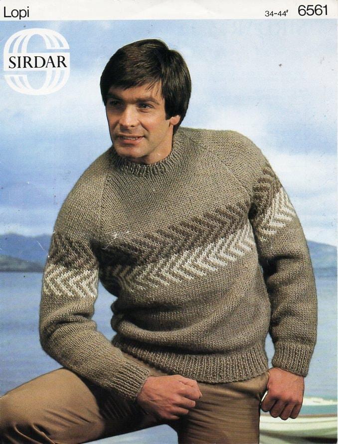 Mens chunky sweater knitting pattern PDF bulky mens fair ...