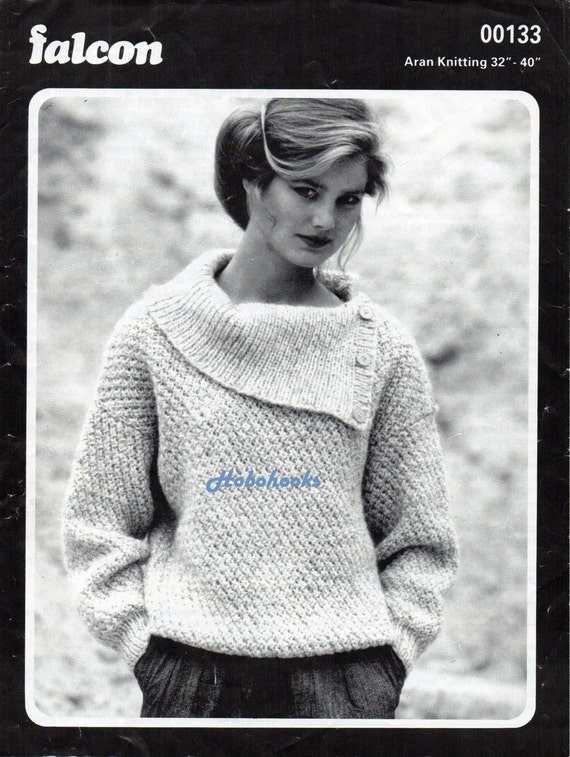 Womens Knitting Pattern Womens Aran Sweater Pattern Ladies Etsy