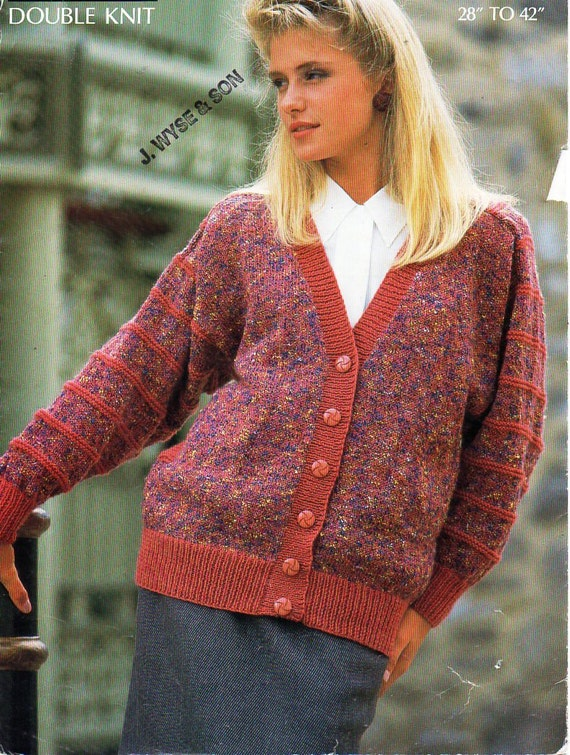 Womens cardigan knitting pattern pdf ladies DK v neck ...