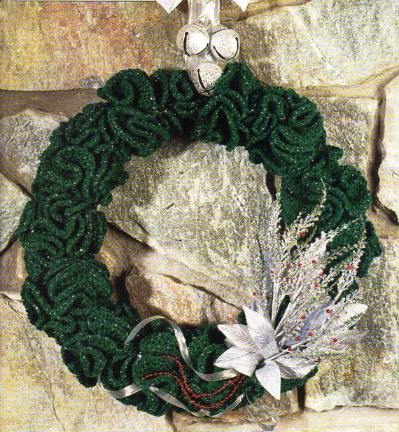 Crochet Christmas holly wreath crochet pattern pdf xmas wreath