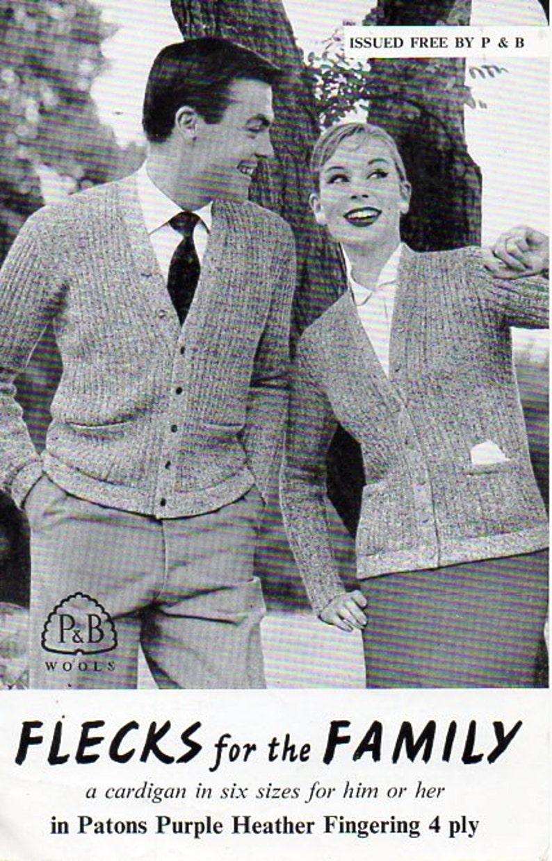 Vintage Womens Mens Cardigan Knitting Pattern Pdf Ladies 4 Ply Etsy