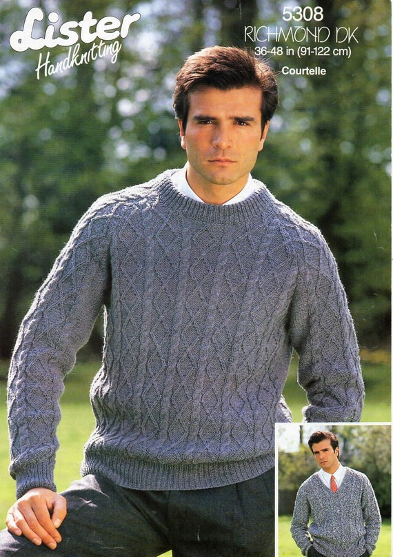 Mens Sweater Knitting Pattern Pdf Dk Mens Cable Rib Jumper Etsy