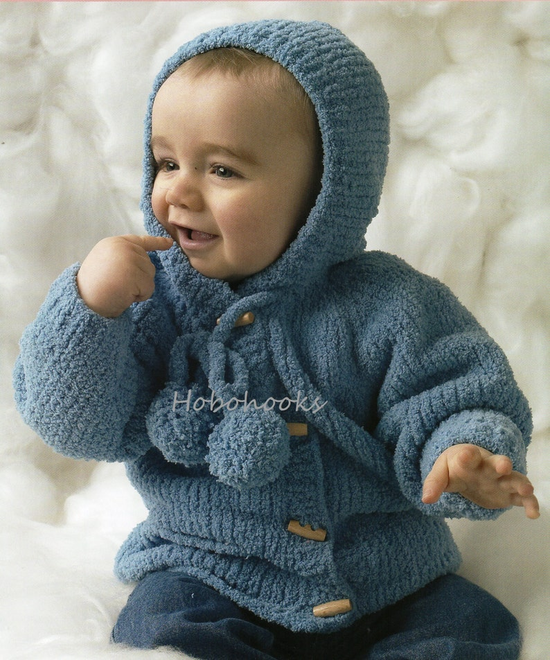 baby chenille hooded jacket knitting pattern pdf coat with hood velvet  cardigan 16-22