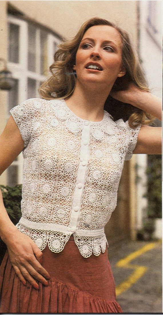 Vintage Womens Crochet Blouse Crochet Pattern Pdf Ladies Etsy