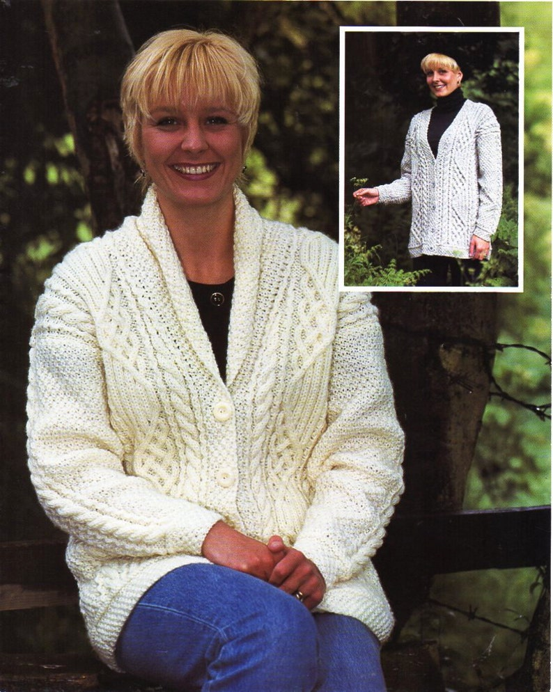 50ffc0848 Womens aran cardigan knitting pattern pdf ladies cable jacket