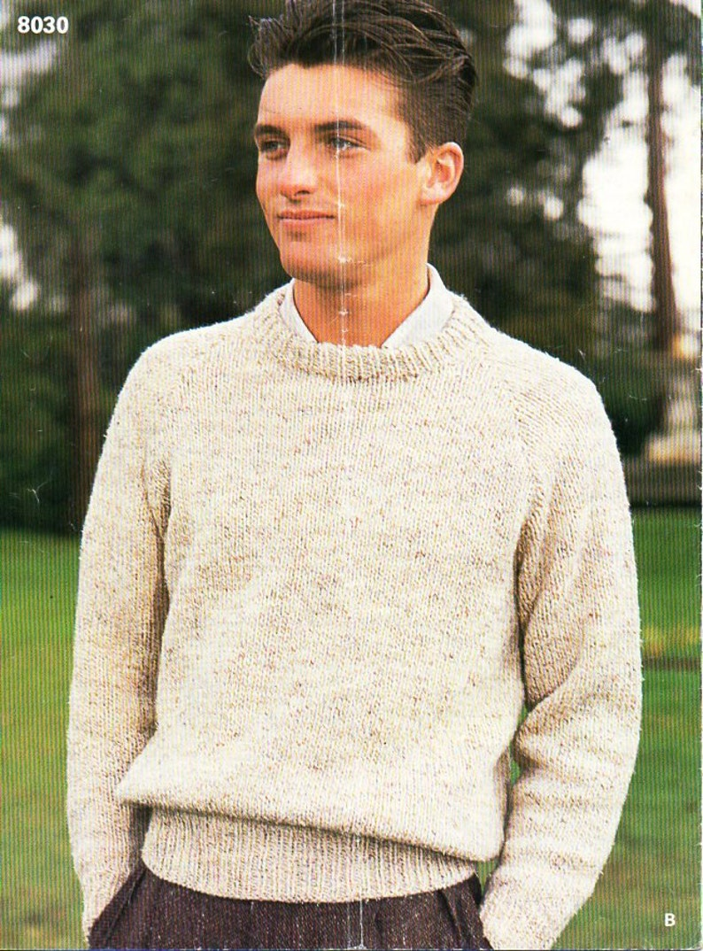 3d0daad64 Vintage mens chunky sweater knitting pattern PDF bulky striped