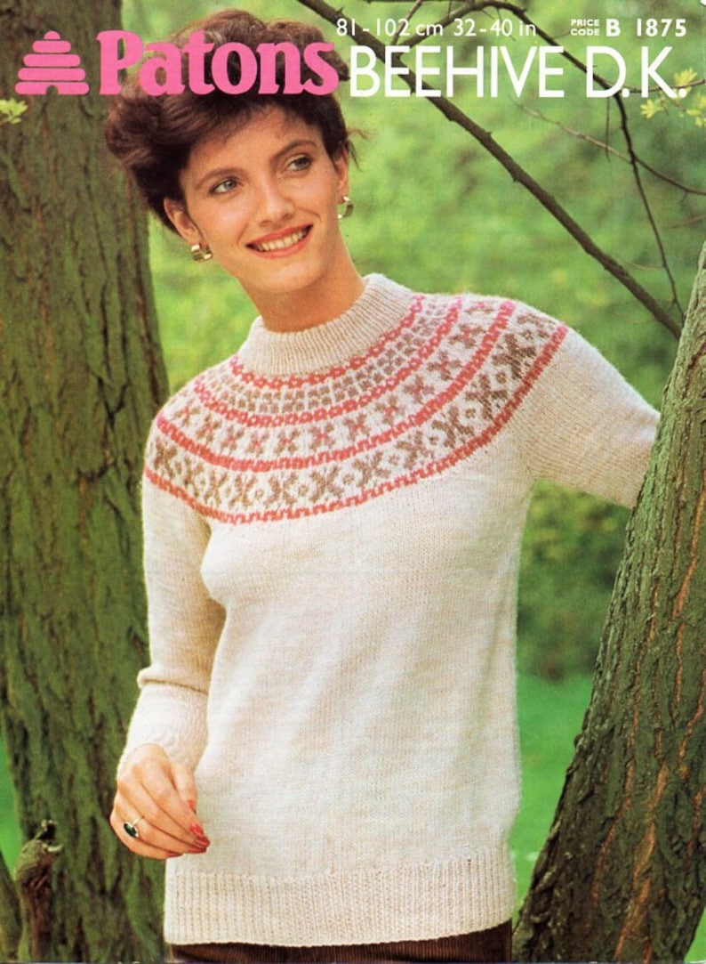074f5012e179d Womens fair isle sweater knitting pattern PDF DK ladies