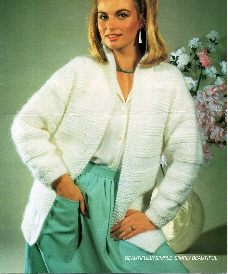 98415ef90 Womens chunky jacket knitting pattern PDF ladies edge to edge